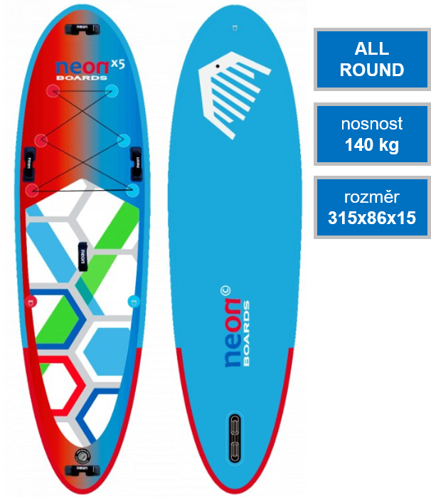 Nafukovací paddleboard Neon X5 All Family 10'4x34x6